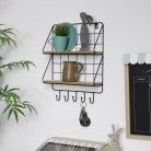 Black Metal Wire Wall Shelves with Hooks