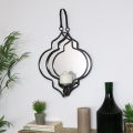 Black Mirrored Moroccan Wall Candle Sconce
