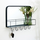Black Mirrored Wall Shelf With Hooks
