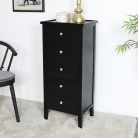 Black Pine Wood 5 Drawer Tall Boy Chest