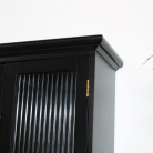 Black Reeded Glass Wall Cabinet