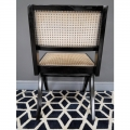 Black Teak Wood & Rattan Chair