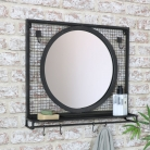 Black Wall Mirror with Shelf & Hooks 52cm x 46cm