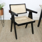 Black Wood & Cane Chair
