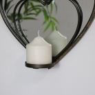 Brass Heart Shaped Mirrored Candle Sconce