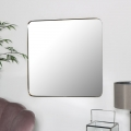 Gold Thin Framed Square Wall Mirror