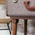 Brown Fabric Suitcase Style Side Table