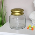 Clear Glass Sweet Jar with Bronzed Lid