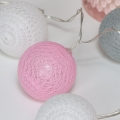 Pink, grey & white lace ball Fairy Lights