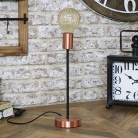 Copper Lamp with Amber Glass Bulb