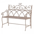 Cream Metal Garden Bench Seat