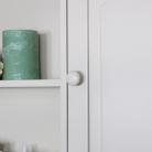 Cream Wall Mounted Cupboard with hooks - Lyon Range