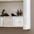 Cream Wall Shelf Unit with Drawers - Lyon Range