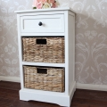 Cream Wicker Storage Unit - One Drawer/Two Baskets