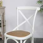 Cream Wooden Rattan Dining Chair