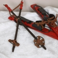 Decorative Red Wooden Christmas Skiis