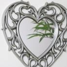 Decorative Silver Filigree Heart Shaped Wall Mounted Mirror 25.5cm x 25cm
