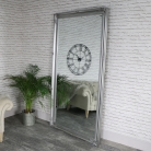 Extra, Extra Large Full Length Ornate Silver Wall/Leaner Mirror 119cm x 220cm