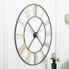 Extra Large Black & Gold Skeleton Wall Clock