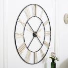 Extra Large Black & Gold Skeleton Wall Clock