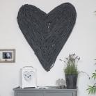 Extra Large Dark Grey Rustic Wicker Wall Heart