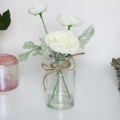 Faux White Flowers in Glass Jar