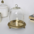 Glass Cloche Dome with Gold Base