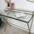 Gold and Glass Metal Desk