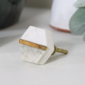 Gold & Grey Marble Hexagon Drawer Knob