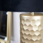 Gold Honeycomb Lamp with Black Velvet Shade