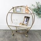 Gold & Marble Round Bar Cart