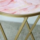 Gold & Pink Marble Side Table