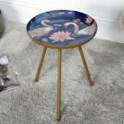 Gold Swan Decorated Side Table - Small