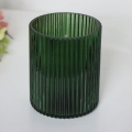 Green Glass Ribbed Tealight Candle Holder
