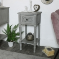Grey 1 Drawer Bedside/Occasional Table - Venice Range
