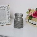 Grey Cut Glass Vase