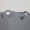 Grey Heart Detail Wooden Waste Paper Bin