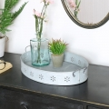 Grey Metal Oval Serving Tray
