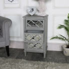 Grey Mirrored Bedside/Lamp Table – Vienna Range