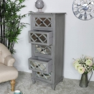 Grey Mirrored Tallboy Chest of Drawers - Vienna Range DAMAGED SECOND 3924