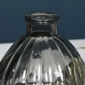 Grey Ribbed Glass Bottle Vase