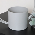 Grey Round Abstract Metal Planter