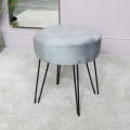 Grey Velvet Stool with Black Hairpin Legs