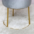 Grey Velvet Stool with Round Gold Base