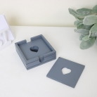 Grey Wooden Heart Coasters in Holder