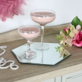 Hexagonal mirrored table candle plate 26cm x 26cm