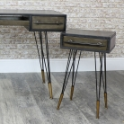 Industrial Dressing Table & Pair of 1 Drawer Bedside Tables