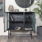 Industrial Grey Metal & Glass Cabinet