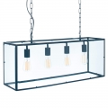 Industrial Metal & Glass Four Bulb Ceiling Light Pendant
