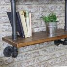 Industrial Metal & Wood Pipe Shelving Wall Unit